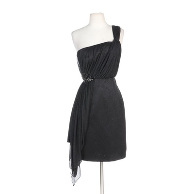 Alberto Makali Black Embellished One-Shoulder Occasion Dress