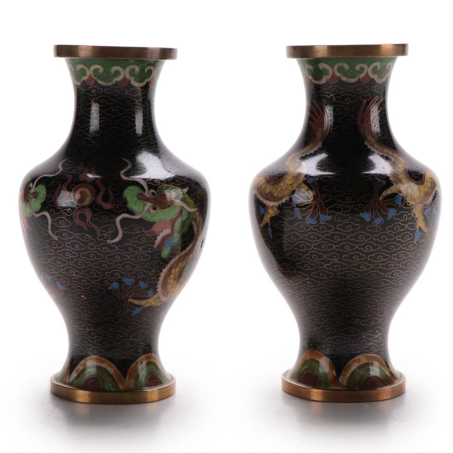 Pair of Chinese Black Dragon Motif Cloisonné Vases, Mid to Late 20th Century