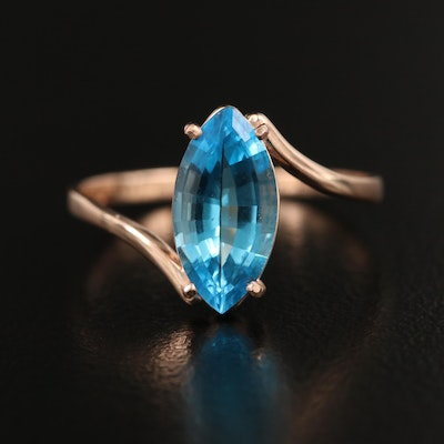 14K Swiss Blue Topaz Bypass Ring