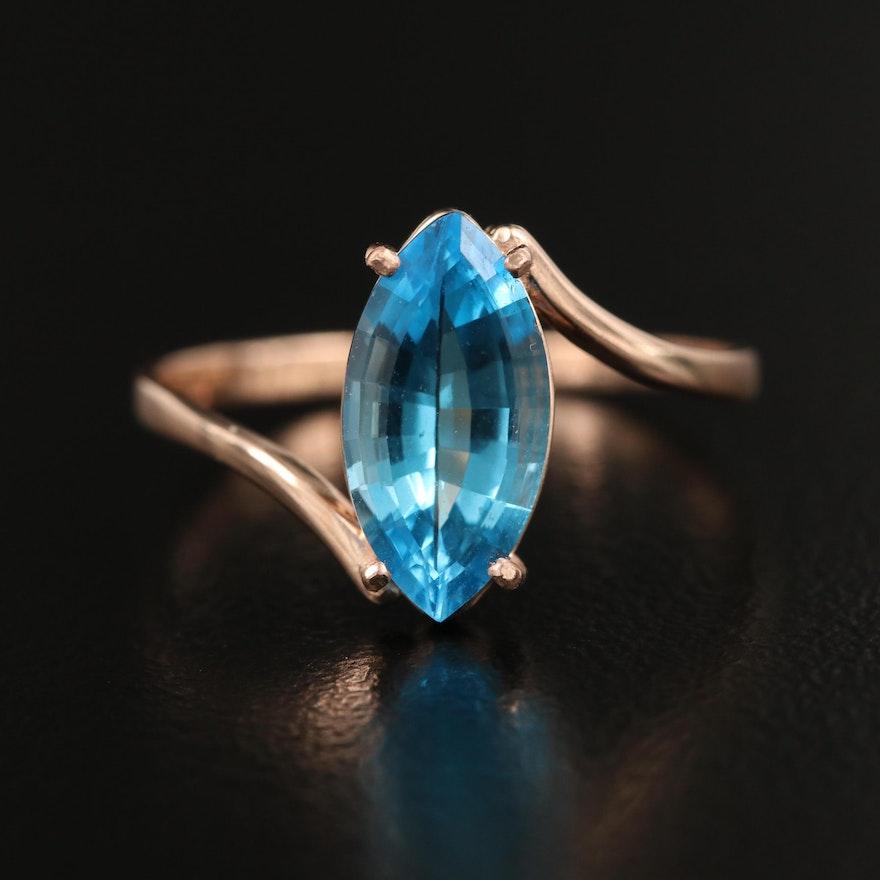 14K Swiss Blue Topaz Bypass Ring
