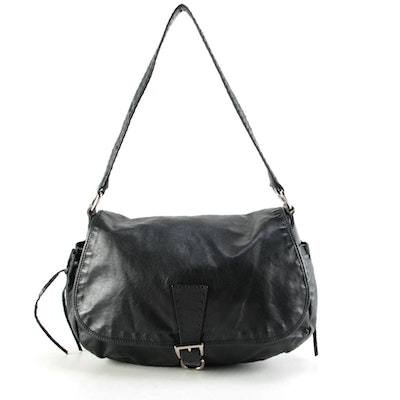 Prada Black Smooth Leather Flap Front Shoulder Bag