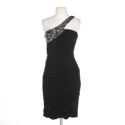 Alberto Makali Embellished One-Shoulder Ruched Occasion Dress