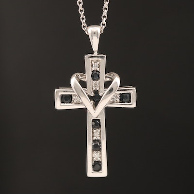 10K Diamond and Sapphire Cross Pendant on 14K Cable Chain