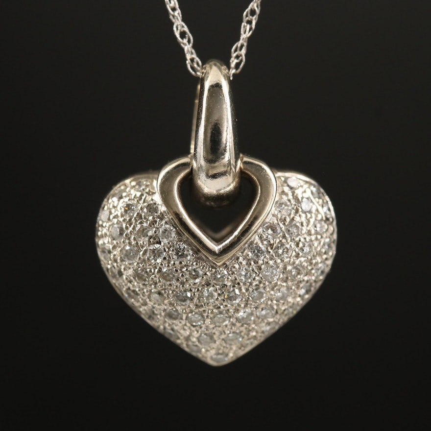 14K Pavé Diamond Heart Pendant Necklace