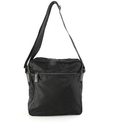 Prada Tessuto Black Nylon Messenger Bag with Canvas Strap