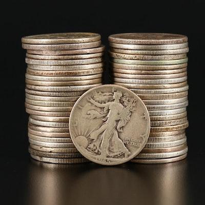 Forty-Nine Walking Liberty Silver Half Dollars