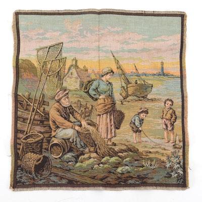 Machine Woven Jacquard Maritime Genre Scene Tapestry