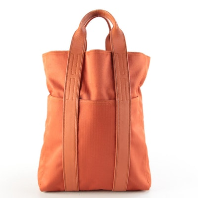 Hermès Acapulco Cabas Tote in Potiron Toile with Leather Trim