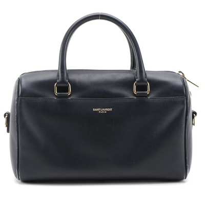 Saint Laurent Classic Duffle Two-Way Bag in Navy Leather