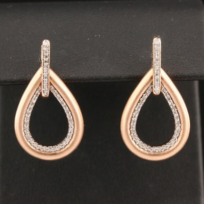 14K Diamond Drop Earrings with Matte Finish