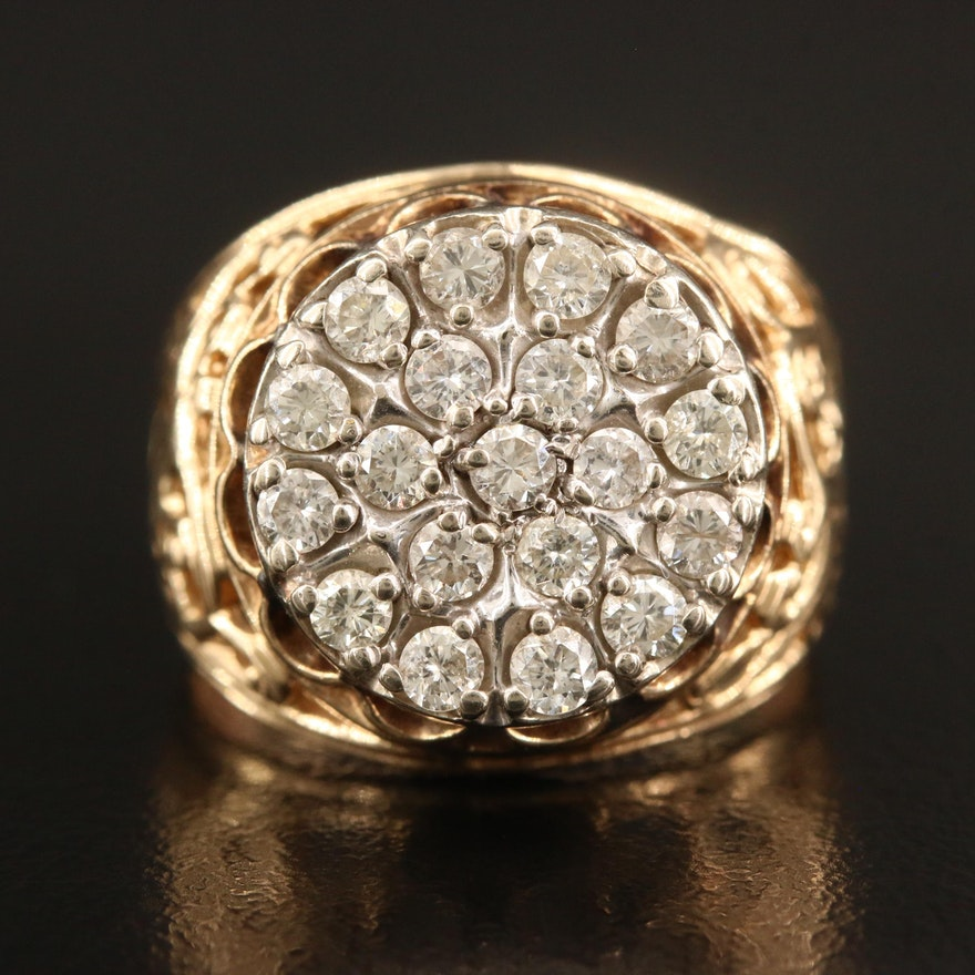 10K 1.00 CTW Diamond Ring with Openwork Shoulders