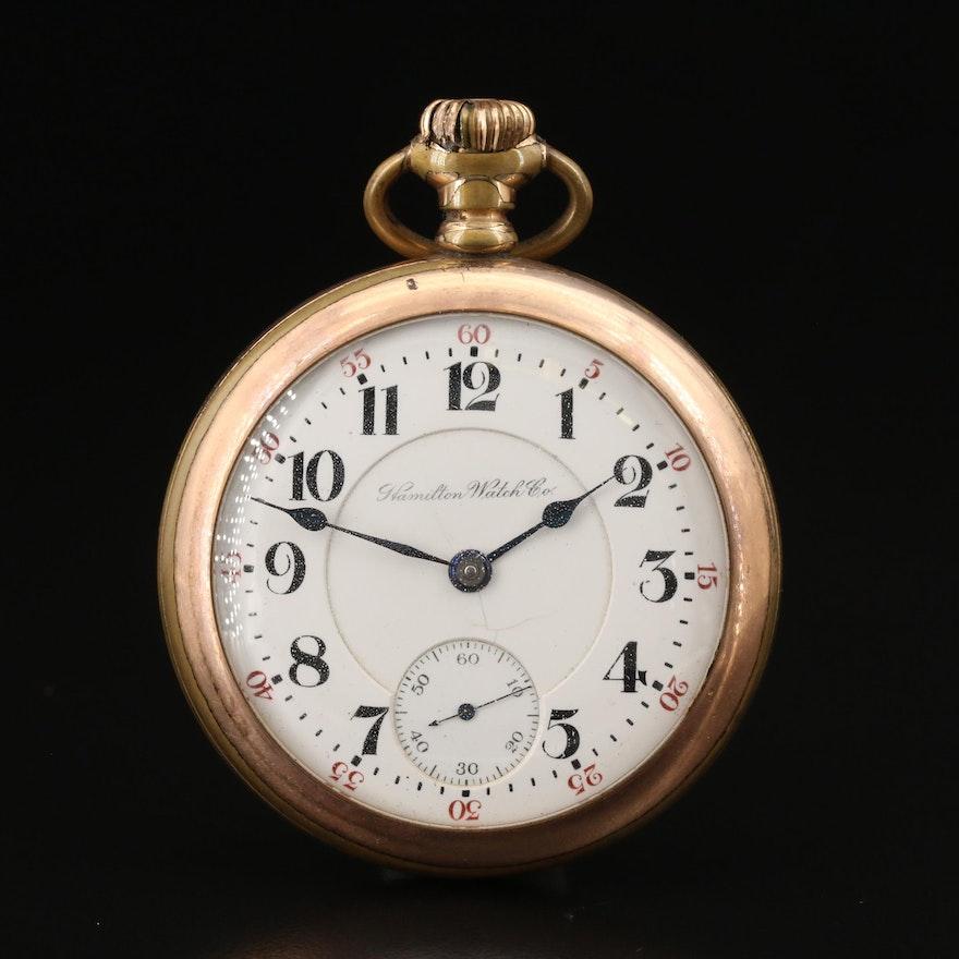 "1903 Hamilton ""The Banner"" Railroad Grade Gold Filled Pocket Watch"