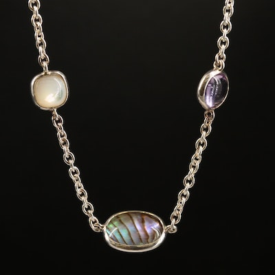 Ippolita Sterling  Amethyst, Prasiolite, Quartz and Abalone Doublet Necklace