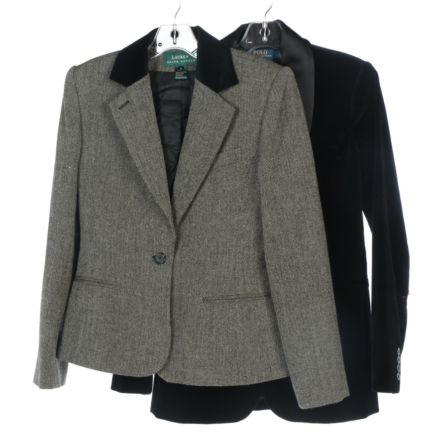 Polo Ralph Lauren Velvet Blazer with Silk Collar and Ralph Lauren Wool Blazer