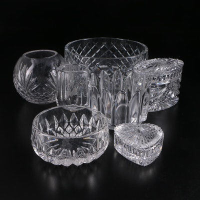 Orrefors Crystal Bud Vase and Bowl with Other Crystal Tabletop Décor