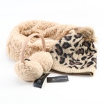 INC International Concepts Tan Scarf and Earmuff Set with Leopard Print Beanie
