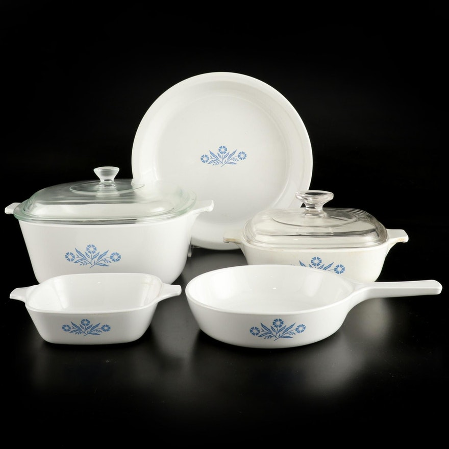 """Corning Ware """"Cornflower Blue"""" Baking Dishes with Lids and Serveware"""