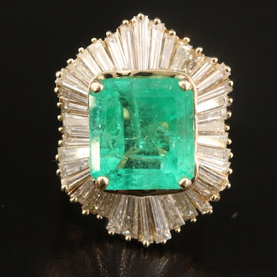 14K 7.36 CT Emerald and 4.26 CTW Diamond Ballerina Ring