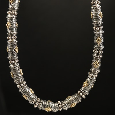 Sterling with 18K Gold Granulated Beaded Necklace Attributed to Elyse Ryan