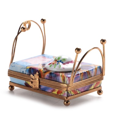 Hand-Painted Child's Bed and Hat Porcelain Limoges Box