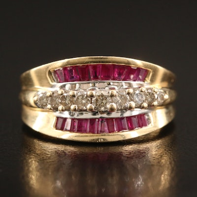 14K Diamond and Ruby Tapered Ring