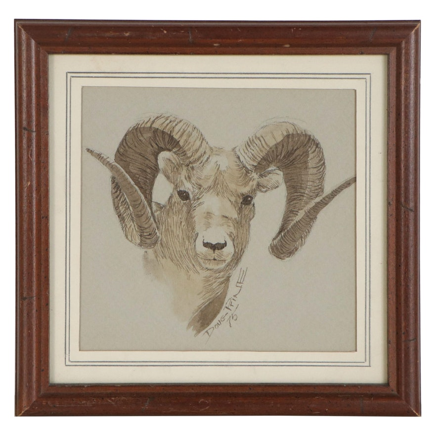 Doug Prine Ink Drawing of Ram, 1975