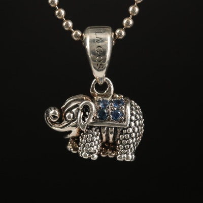 "Lagos ""Rare Wonders"" Sterling Sapphire Elephant Pendant Necklace"