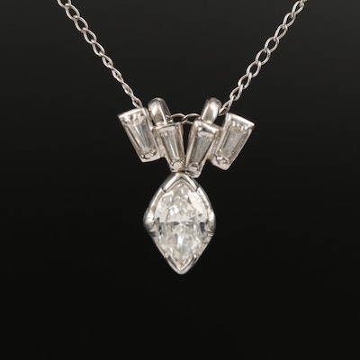 Palladium Diamond Pendant on 14K Chain Necklace