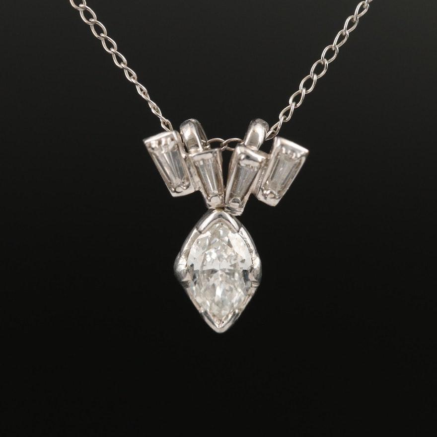 Palladium Diamond Pendant on 14K Chain Necklace