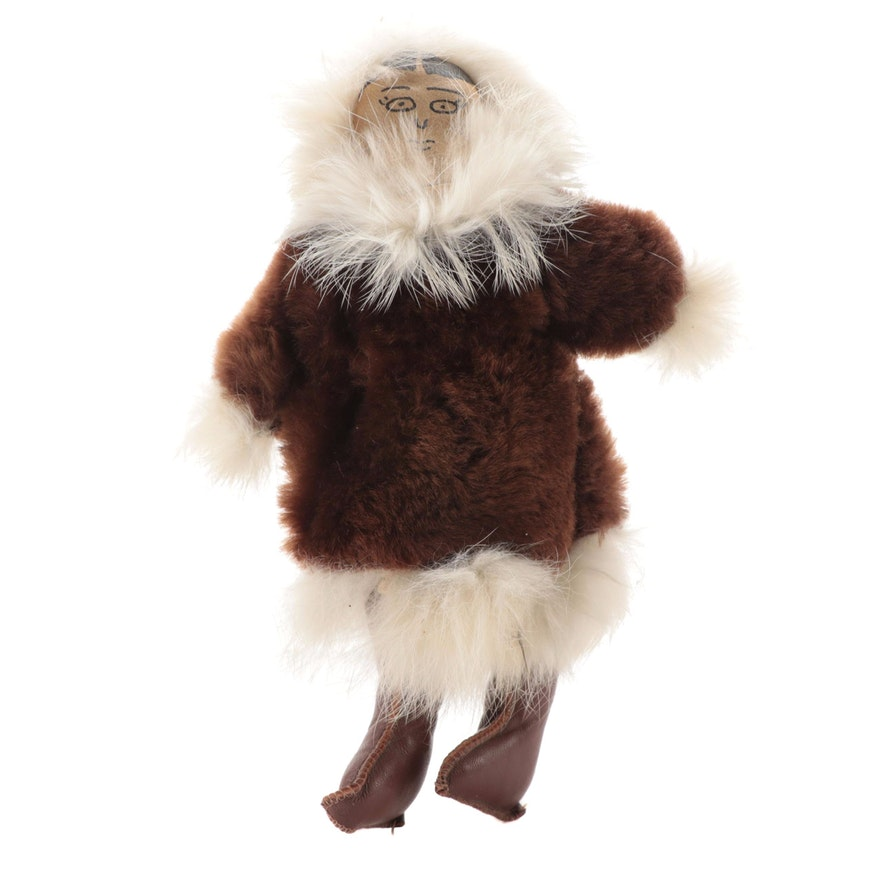 Inuit Style Rabbit and Beaver Fur Doll, Late 20th Century