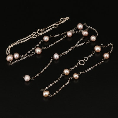 Vintage Sterling Silver Pearl Station Bracelet and Necklace Set