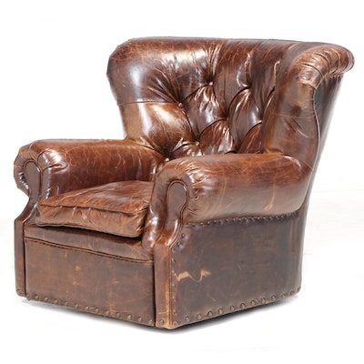 "Restoration Hardware ""Churchill"" Leather Button Tufted Swivel Wingback Armchair"