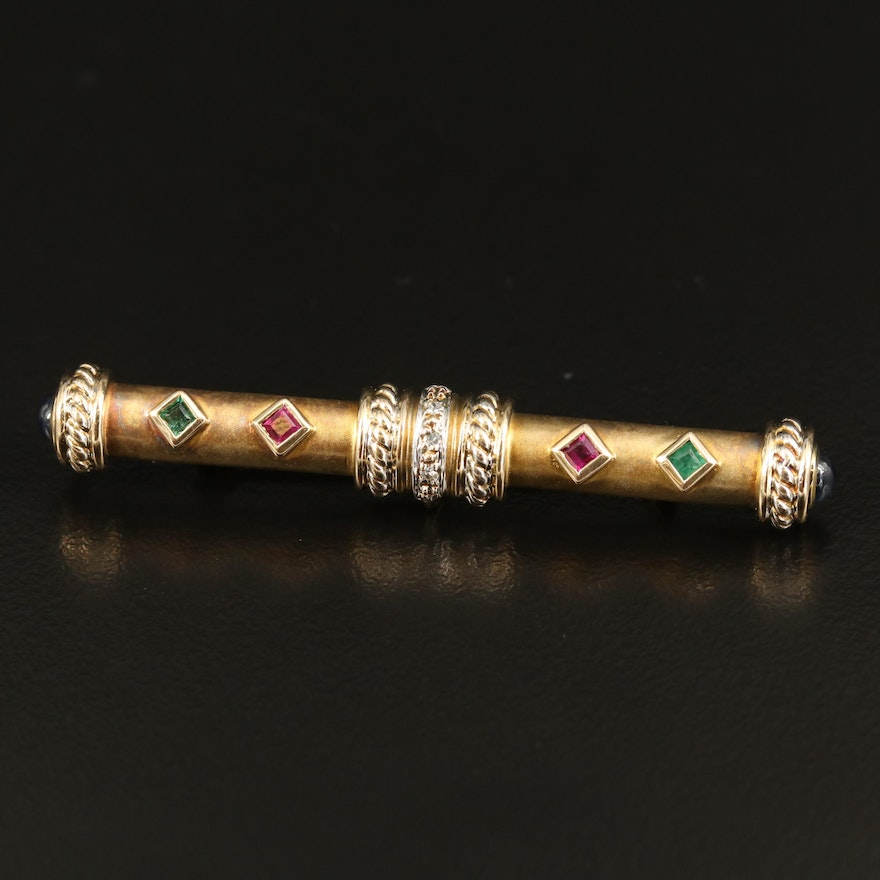 Renaissance Style 14K Ruby and Emerald Bar Brooch