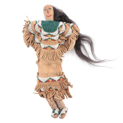 Lakota Style Seed Bead and Buckskin Doll