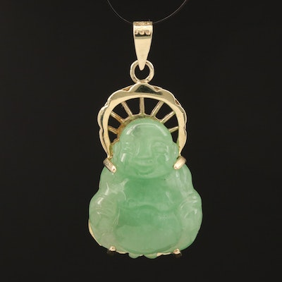 Asian 14K Carved Jadeite Budai Pendant