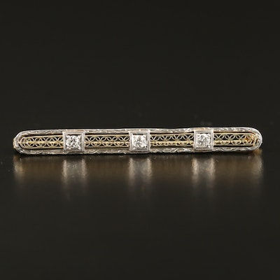 Circa 1930s 14K Diamond Bar Brooch with Platinum Accent