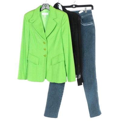 Escada Green Wool Jacket, Black Silk Blouse and Embellished Jeans