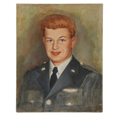 Oil Painting Portrait Attributed to Jean Walker, Mid-20th Century