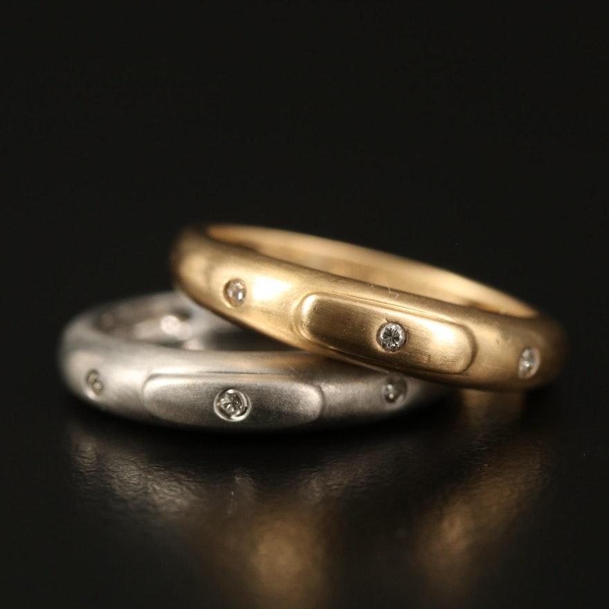 14K Diamond Three Stone Bands