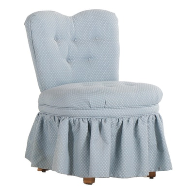 Button-Tufted Upholstered Skirted Side Chair