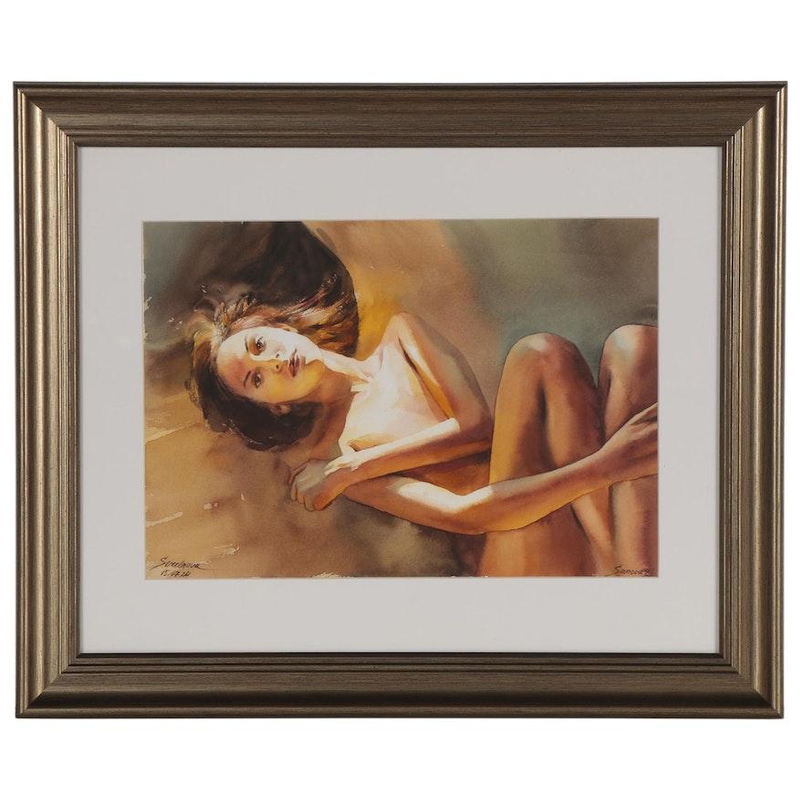 Anastajiia Serdnova Watercolor Painting of Female Nude, 2020
