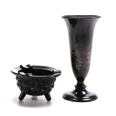 LE Smith Glass Opaque Black Daisy and Button Ashtray and Other Vase, Mid-20th C.