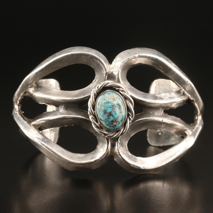 Southwestern Style Sterling Silver Turquoise Openwork Cuff