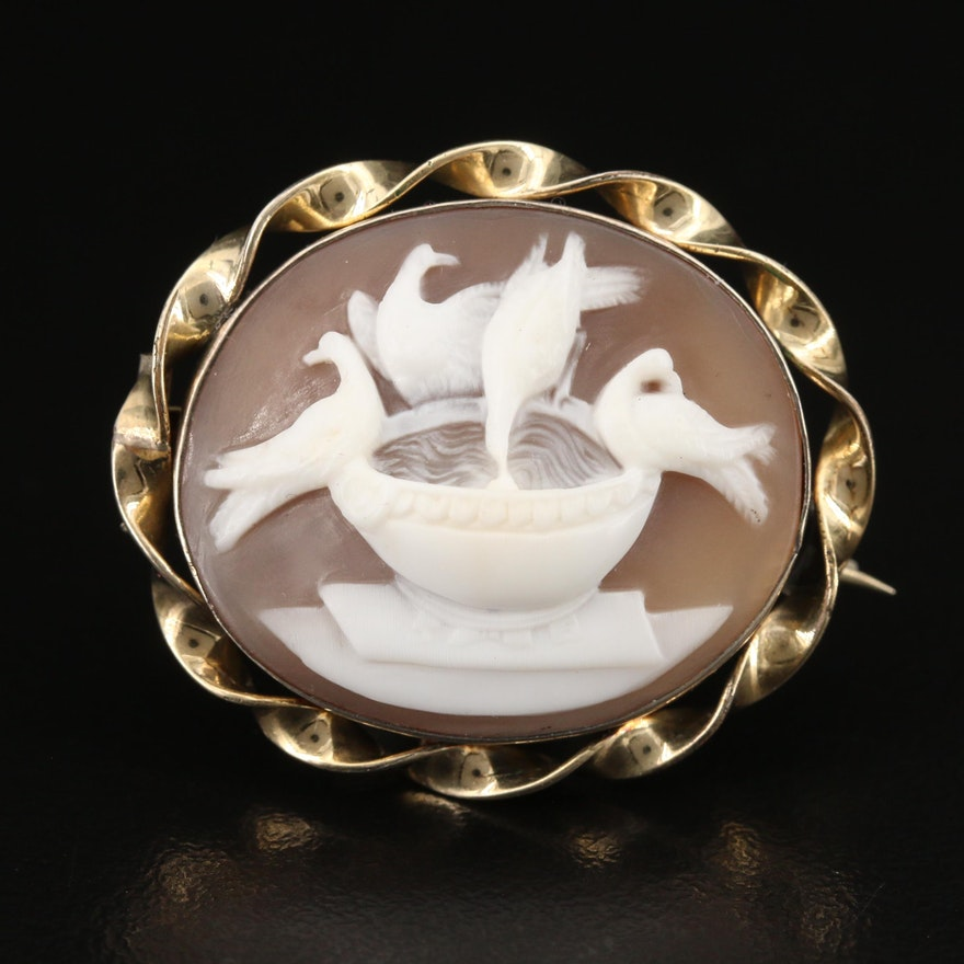 1900s 10K Pliny's Doves Shell Cameo Brooch