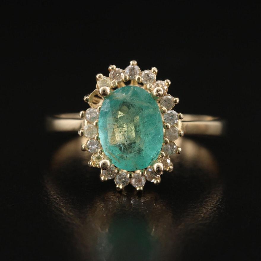 14K Emerald and Diamond Halo Ring