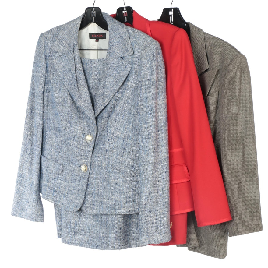 Escada Tweed and Solid Skirt Suits with Wool Double-Breasted Jacket