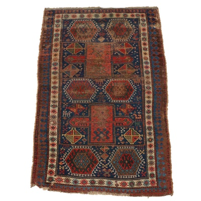 4'4 x 6'10 Hand-Knotted Caucasian Kazak Area Rug, Late 19th Century