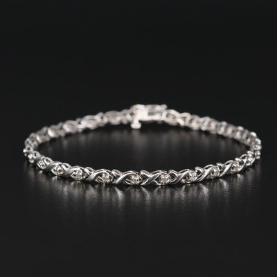 10K Diamond Fancy Link Bracelet