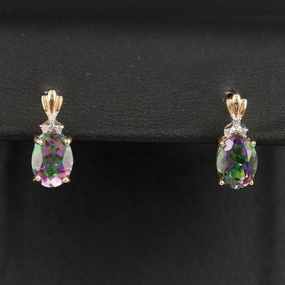 10K Mystic Topaz and Diamond Earrings