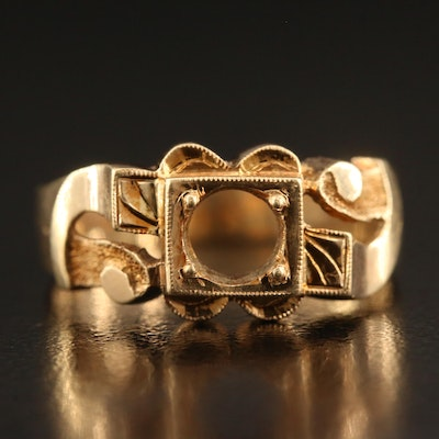 Victorian 14K Ring Mount with Milgrain Detail